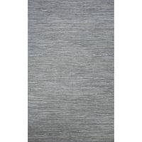 Flat-weave solid blue cotton area rug, 'Aegean Heather' - Flat-Weave Solid Blue Cotton Area Rug