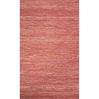 Flat-weave solid red cotton area rug, 'Rose Heather' - Flat-Weave Solid Red Cotton Area Rug