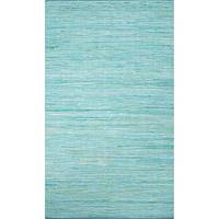 Flat-weave solid blue cotton area rug, 'Sapphire Heather' - Flat-Weave Solid Blue Cotton Area Rug