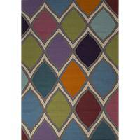 Flat-weave geometric multi wool area rug, 'Honeycomb' - Flat-Weave Geometric Multi Wool Area Rug