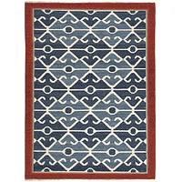 Flat-weave tribal blue/red wool area rug, 'Iris' - Flat-Weave Tribal Blue/Red Wool Area Rug