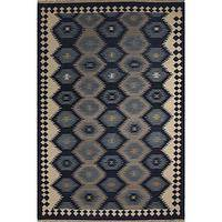 Flat-weave tribal blue/gray wool area rug, 'Admiral' - Flat-Weave Tribal Blue/Gray Wool Area Rug