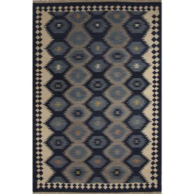 Flat-weave tribal blue/gray wool area rug, Admiral