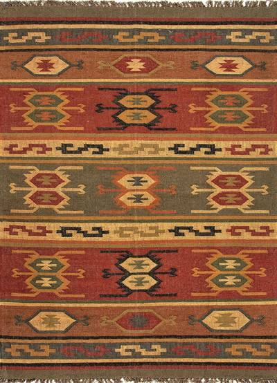 Flat-weave tribal red/yellow jute area rug, 'Mayem' - Flat-Weave Tribal Red/Yellow Jute Area Rug