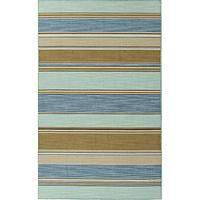 Flat-weave stripe blue/taupe wool area rug, 'Dara' - Flat-Weave Stripe Blue/Taupe Wool Area Rug
