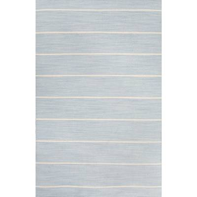 Flat-weave stripe blue/ivory wool area rug, 'Tersa' - Flat-Weave Stripe Blue/Ivory Wool Area Rug