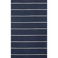Flat-weave stripe blue/ivory wool area rug, 'Cassia' - Flat-Weave Stripe Blue/Ivory Wool Area Rug