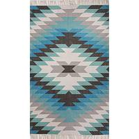 Indoor-outdoor tribal blue/green area rug, 'Disa' - Indoor-Outdoor Tribal Blue/Green Area Rug