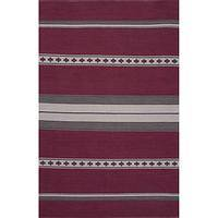 Flat-weave tribal pink/gray cotton area rug, 'Burgundy Ribbon' - Flat-Weave Tribal Pink/Gray Cotton Area Rug