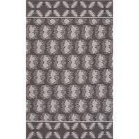 Flat-weave tribal gray/ivory cotton area rug, 'Stone Mirage' - Flat-Weave Tribal Gray/Ivory Cotton Area Rug