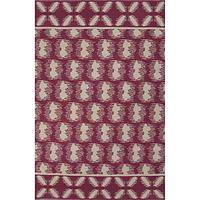 Flat-weave tribal pink/ivory cotton area rug, 'Cardinal Mirage' - Flat-Weave Tribal Pink/Ivory Cotton Area Rug
