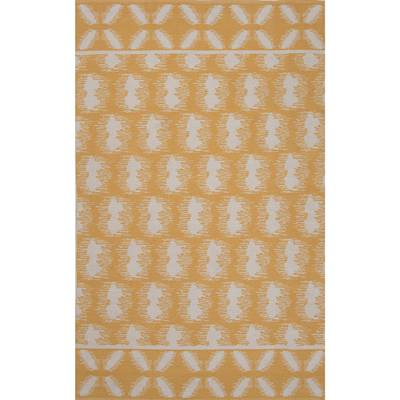 Flat-weave tribal yellow/ivory cotton area rug, 'Golden Mirage' - Flat-Weave Tribal Yellow/Ivory Cotton Area Rug