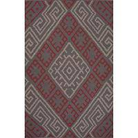 Flat-weave tribal pink/red cotton area rug, 'Brick Maze' - Flat-Weave Tribal Pink/Red Cotton Area Rug