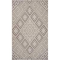 Flat-weave tribal gray cotton area rug, 'Cement Maze' - Flat-Weave Tribal Gray Cotton Area Rug