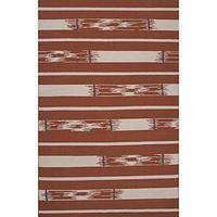 Flat-weave tribal red/ivory wool area rug, 'Rusted Timber' - Flat-Weave Tribal Red/Ivory Wool Area Rug
