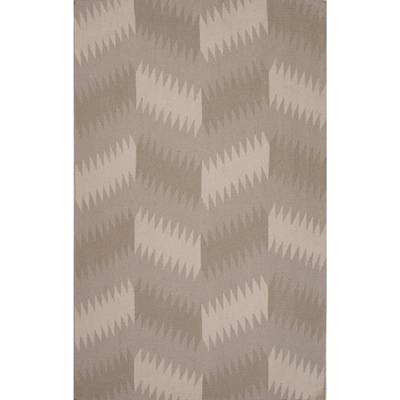 Flat-weave tribal gray/black wool area rug, Sand Zigzag