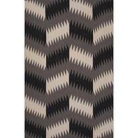Flat-weave tribal black wool area rug, 'Charcoal Zigzag' - Flat-Weave Tribal Black Wool Area Rug