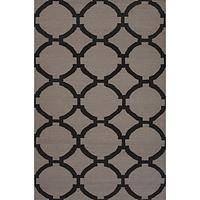 Flat-weave geometric gray/black wool area rug, 'Charcoal Raster' - Flat-Weave Geometric Gray/Black Wool Area Rug