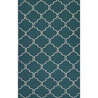 Flat-weave Moroccan style blue/ivory wool area rug, 'Marine Winslow' - Flat-Weave Moroccan Style Blue/Ivory Wool Area Rug