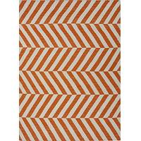 Flat-weave stripe orange/ivory wool area rug, 'Mandarin Vaughn' - Flat-Weave Stripe Orange/Ivory Wool Area Rug