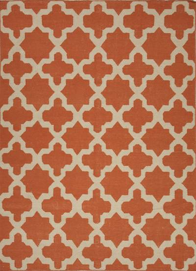 Flat-weave geometric orange/ivory wool area rug, 'Tangerine Shiloh' - Flat-Weave Geometric Orange/Ivory Wool Area Rug