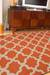 Flat-weave geometric orange/ivory wool area rug, 'Tangerine Shiloh' - Flat-Weave Geometric Orange/Ivory Wool Area Rug (image 2d) thumbail