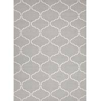 Flat-weave geometric gray/ivory wool area rug, 'Cinder Winslow' - Flat-Weave Geometric Gray/Ivory Wool Area Rug