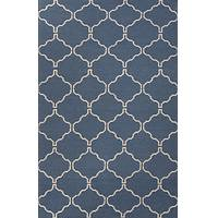 Flat-weave geometric blue/ivory wool area rug, 'Cobalt Winslow' - Flat-Weave Geometric Blue/Ivory Wool Area Rug