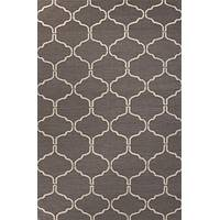 Flat-weave geometric gray/ivory wool area rug, 'Cedar Winslow' - Flat-Weave Geometric Gray/Ivory Wool Area Rug