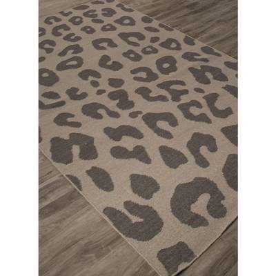 Flat Weave Animal Print Dark Gray Wool Area Rug Feline Print Novica