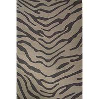 Flat-weave animal print dark gray wool area rug, 'Grey Bengal Tiger' - Flat-Weave Animal Print Dark Gray Wool Area Rug