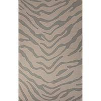 Flat-weave animal print gray wool area rug, 'Royal Bengal Tiger' - Flat-Weave Animal Print Gray Wool Area Rug