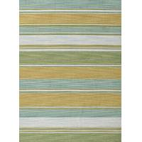 Flat-weave stripe blue/green wool area rug, 'Palm Frond' - Flat-Weave Stripe Blue/Green Wool Area Rug