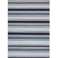 Flat-weave stripe blue/ivory wool area rug, 'Blue Nautica' - Flat-Weave Stripe Blue/Ivory Wool Area Rug
