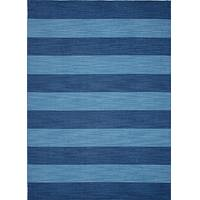 Flat-weave stripe blue wool area rug, 'Deep Sea' - Flat-Weave Stripe Blue Wool Area Rug