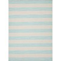 Flat-weave stripe blue/ivory wool area rug, 'Skylight' - Flat-Weave Stripe Blue/Ivory Wool Area Rug