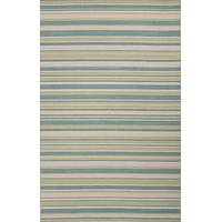 Flat-weave stripe blue/green wool area rug, 'Seagrass' - Flat-Weave Stripe Blue/Green Wool Area Rug