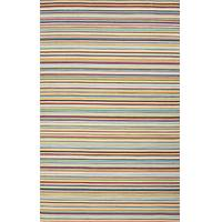 Flat-weave stripe multicolor/blue wool area rug, 'Spectrum' - Flat-Weave Stripe Multicolor/Blue Wool Area Rug