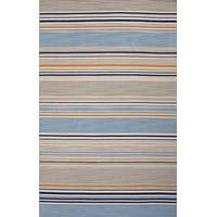Flat-weave stripe blue/orange wool area rug, 'Polo' - Flat-Weave Stripe Blue/Orange Wool Area Rug
