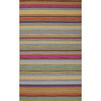 Flat-weave stripe pink/purple wool area rug, 'Dessert Bloom' - Flat-Weave Stripe Pink/Purple Wool Area Rug