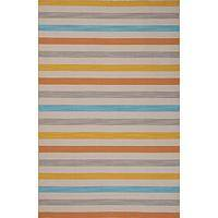 Flat-weave stripe yellow/blue wool area rug, 'Carnival' - Flat-Weave Stripe Yellow/Blue Wool Area Rug