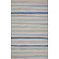 Flat-weave stripe blue wool area rug, 'Rising Tide' - Flat-Weave Stripe Blue Wool Area Rug