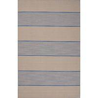 Flat-weave stripe blue/ivory wool area rug, 'Slate Tracks' - Flat-Weave Stripe Blue/Ivory Wool Area Rug