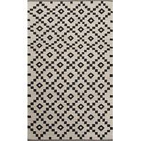 Flat-weave geometric ivory/black wool area rug, 'Cubic' - Flat-Weave Geometric Ivory/Black Wool Area Rug