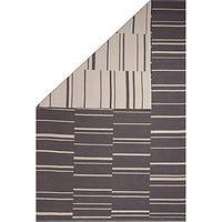 Flat-weave stripe gray/white reversible cotton area rug, 'Sagebrush' - Flat-Weave Stripe Gray/White Reversible Cotton Area Rug