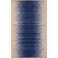 Flat-weave stripe blue/ivory wool area rug, 'Riverbed' - Flat-Weave Stripe Blue/Ivory Wool Area Rug