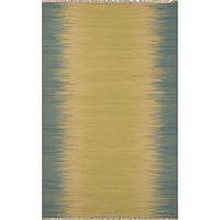 Flat-weave stripe green/blue wool area rug, 'Moon Lake' - Flat-Weave Stripe Green/Blue Wool Area Rug