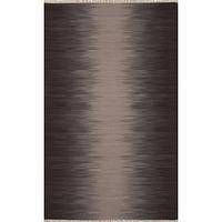 Flat-weave stripe gray/brown wool area rug, 'Nightfall' - Flat-Weave Stripe Gray/Brown Wool Area Rug