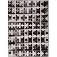 Flat-weave geometric ivory/black wool area rug, 'Noir Greek Key' - Flat-Weave Geometric Ivory/Black Wool Area Rug