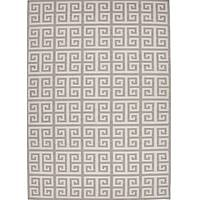 Flat-weave geometric ivory/gray wool area rug, 'Stone Greek Key' - Flat-Weave Geometric Ivory/Gray Wool Area Rug